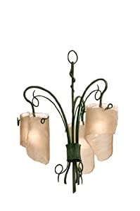 Varaluz 126C03NA Soho 3-Light Chandelier, Natura Finish with Brown Tint Ice Glass Shades, 17-Inch by 23-Inch