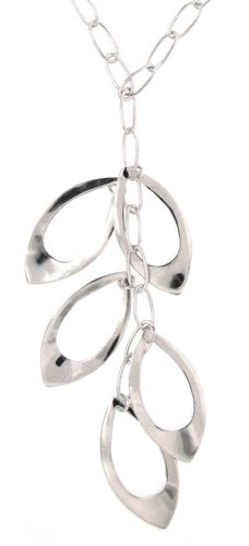 Sterling Silver Open Leaf Shape Necklace, 16