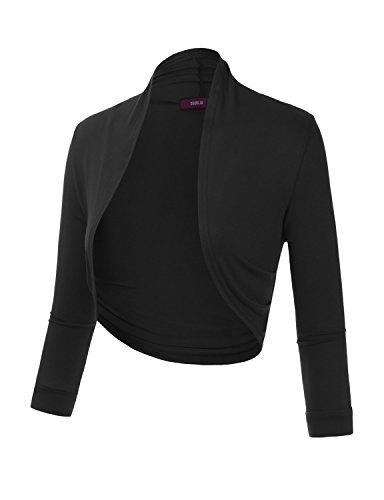 Doublju Bolero Shrug Open Front Cropped Cardigan (Plus size available)BLACK 3XL