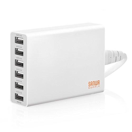 【Amazon.co.jp限定】 サンワダイレクト 50W 6ポート USB充電器 急速充電 高出力10A 出力自動判別 ホワイト 700-AC011WAZ 【20ヶ月保証】