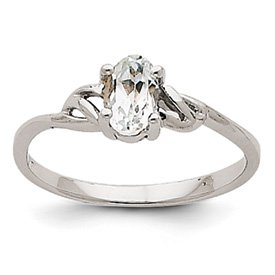 Genuine IceCarats Designer Jewelry Gift 14K White Gold White Topaz Birthstone Ring Size 7.00