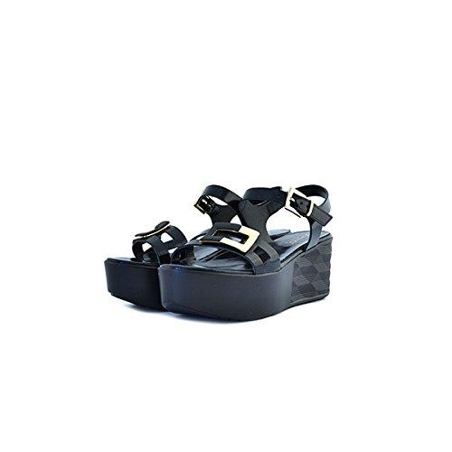 Scarpe sandali donna Jeannot numero 36 33070 in pelle neri zeppa tacco