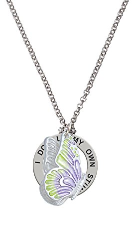 Large Translucent Purple & Lime Green Flying Butterfly - Stunts Affirmation Necklace