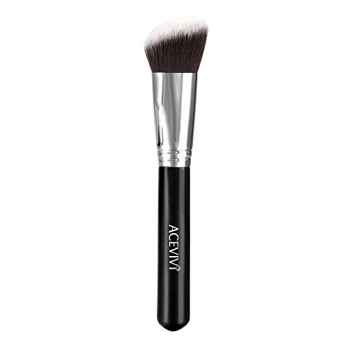 ACEVIVI Angled Flat Top Kabuki Makeup Brush, Wooden Handle Cosmetic Blush Brush