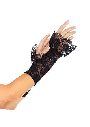 Stretch Lace Gauntlet Ruffle Trim Arm Warmer
