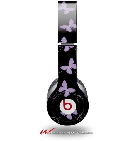 Pastel Butterflies Purple On Black Decal Style Skin (Fits Genuine Beats Solo Hd Headphones - Headphones Not Included)