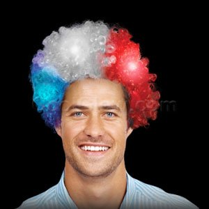 Fun Central O563 LED Light Up Afro Wig - Patriotic Qu
