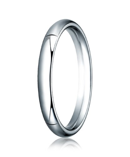 14K White Gold, 3.0mm High Dome Heavy Comfort-Fit Ring (sz 14)