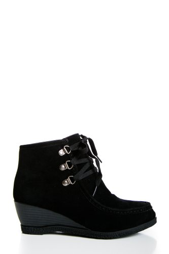 Wedge Microsuede Clogs in Black