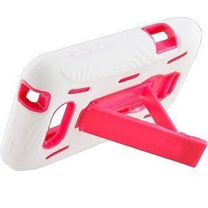 White Pink Double Layer Kickstand Hard Hybrid Gel Case Cover For LG Motion 4G MS770 (Lg Ms770 Cover compare prices)