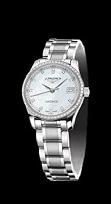 Longines Master Collection in Brushed and Polished Stainless-Steel Mother of Pearl Dial Diamond Markers and Diamond Bezel Women's Watch