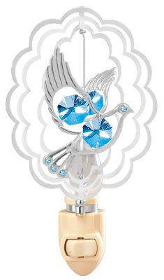 Dove In Scalloped Oval Night Light..... With Blue Swarovski Austrian Crystals