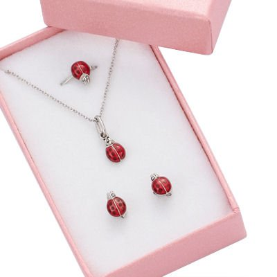 Children's Jewellery Set: Adjustable ring + Earrings + Necklace Ladybird - Sterling Silver & Red Enamel