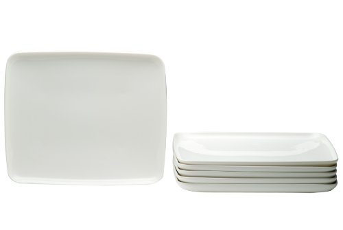 Red Vanilla Everytime White 6-Piece Rectangular Plate Set front-464697