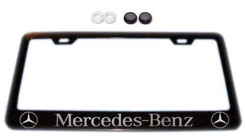 Mercedes benz w logos black license plate frame w screw for Mercedes benz tag screws