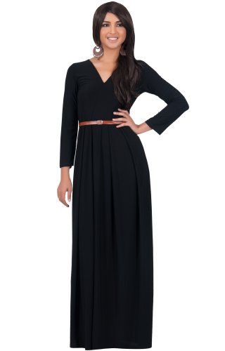 Koh Koh Women's V-Neck Long Sleeve Elegant Cockatil Evening Formal Maxi Dress – X-Large – Black