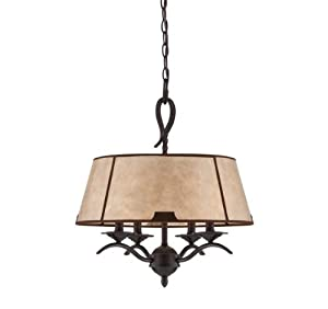 Savoy House 7-9623-4-25 Pendant with Light Mica Shades, Slate Finish