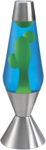Lava Lite 5224-4 Premier 16-2/7-Inch 52-Ounce Silver-Based Lava Lamp, Yellow Wax/Blue Liquid