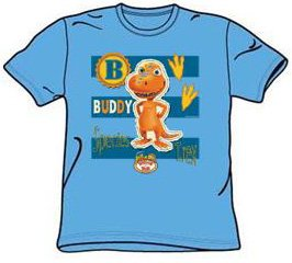 Dinosaur Train Kids Size BUDDY STRIPES Youth Carolina Blue T-shirt