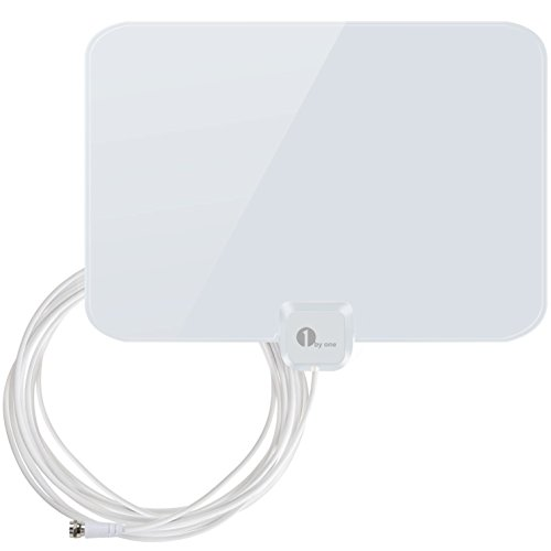 HDTV Antenna, 1byone® Super Thin Indoor HDTV Antenna [Shiny White] – 35 Miles Reception Range, 20ft High Performance Cable, Made of Superior Material, the Most Durable Antenna in Extreme Weather.