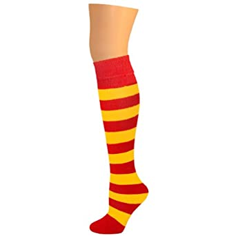 AJs Girls Striped Knee Socks - Red, Gold Yellow-M