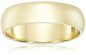 Men's 14k Yellow Gold Comfort-Fit Plain Wedding Band , Size 10.5