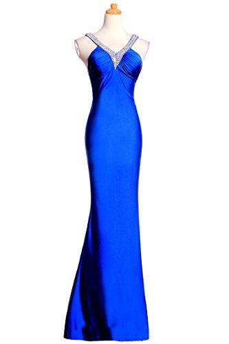 GODLACE Spandex Satin Mermaid Halter Evening Dress AL09 Blue 26