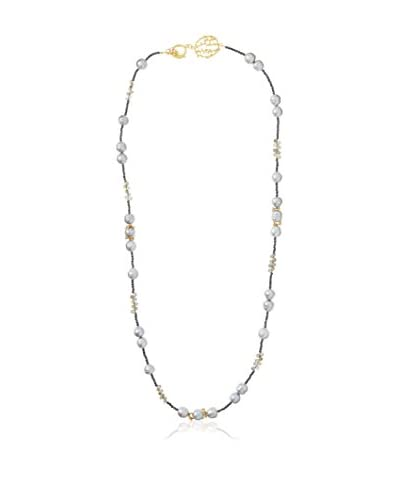 Indulgems Long Pearl, Labradorite & Black Pyrite Pussywillow Necklace