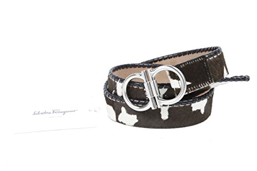 Ferragamo-Cinturn-Double-de-gancini-piel-animal-marrn-de-color-blanco