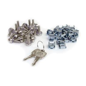 Includes a set of keys and one pack of CAB screws and Cage nuts for hardware installation