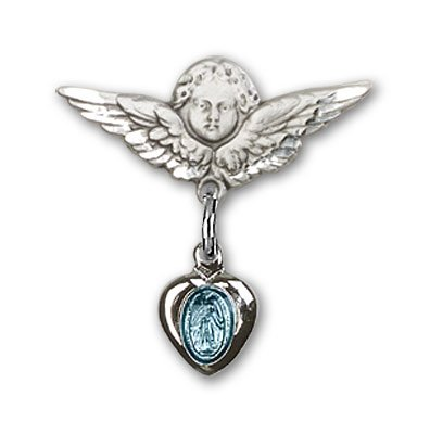 Sterling Silver Baby Badge with Blue Miraculous Charm and Angel w/Wings Badge Pin
