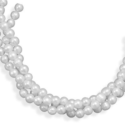 Multistrand Cultured Freshwater Pearl Necklace, Sterling Silver