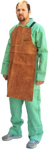 Forney 57203 Welding Apron, Bib-Style, Flame Retardant, Brown Leather