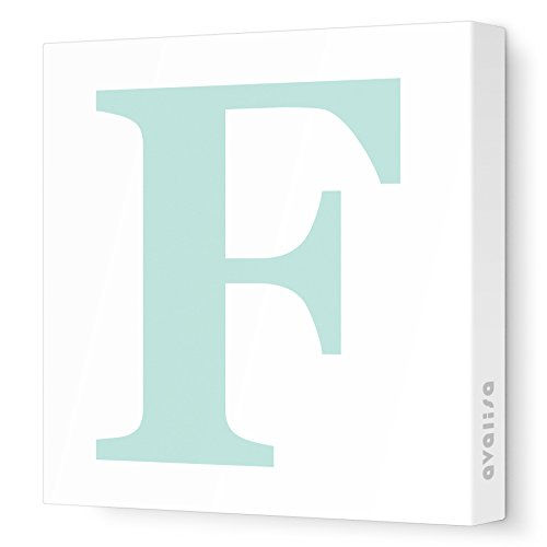 "Avalisa Stretched Canvas Upper Letter F Nursery Wall Art, Aqua, 12"" x 12"""