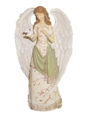 Angel Figurine White With Dove