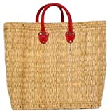Hand Woven Small Moroccan Straw Tote Bag w/ Red Leather Handles 17&quot;Lx6.5&quot;Wx15&quot;H