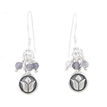 Small Round Raised Lotus Flower Dangle Earrings in Sterling Silver with Iolite Gemstone Beads, #8182