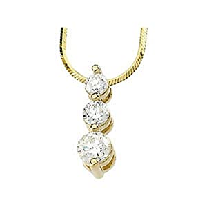 IceCarats Designer Jewelry 14K White Gold Diamond 3-Stone Necklace 18.00 Inch