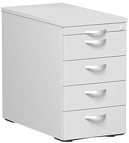 Gera Möbel Stand Container con 4cassetti in metallo e utensili cassetto, metallo rotante Teila, chiusura centralizzata, 438x 800x 720, luce grigio/grigio chiaro/grigio