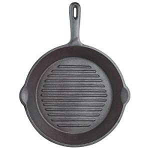Kitchen Craft 24 cm Clearview Deluxe Cast Iron Round Ribbed Grill Pan