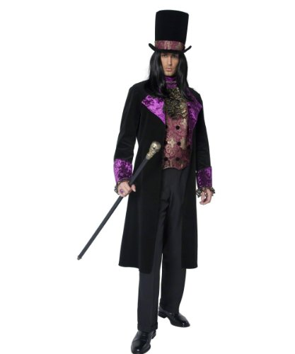 Smiffy's Men's The Gothic Count Costume Mock Waistcoat with Attached Cravat Jacket Hat, Black/Purple, Medium