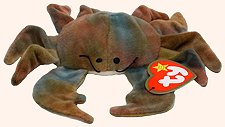 TY Teenie Beanie Babies Claude the Crab Stuffed Animal Plush Toy - 4 inches long