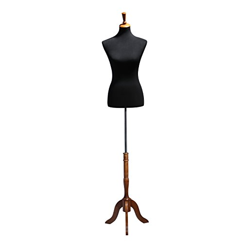Ledrem Female Dress Form Mannequin Black Jersey Torso and Wooden Tripod Stand, for Apparel Scarf Jewelry Display, Room Decoration, School Training Sewing