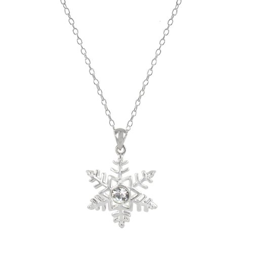 Sterling Silver Plated Snowflake Crystal Pendant Necklace, 18
