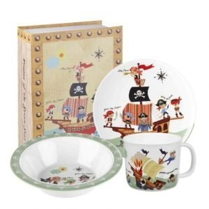 Little Rhymes Pirates Melamine 3-Piece Breakfast Set in Giftbox, Multi-Coloured