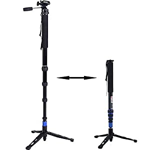 "Digiant 2-in-1 Professional Telescoping Camera Monopod - 70 inch Removable Camera Tripod Balance Stand With Pan-Head(Fits for 1/4""-20 and 3/8""-16 Screw),Include Carrying Bag"