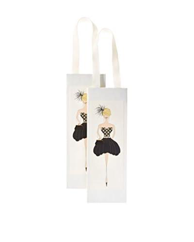 S.E. Hagarman Set of 2 Patterned Bubble Dress Gal Wine Gift Bags, Ivory