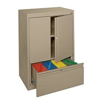 ... Series Counter Height Storage Cabinet with File Drawer, Tropic Sand