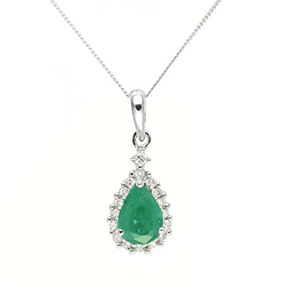 Ivy Gems 9ct White Gold Emerald and Diamond Tear Drop Pendant with 46cm Curb Chain