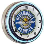 Oldsmobile Service, Neon Clock, Bright Double 18 inch Neon